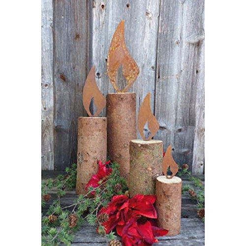 Baumstamm - Kerze Gartendekoration Weihnachten Rost 25cm