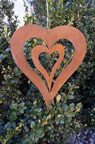 Edelrost Herz mit Innenherz 245cm zum Aufhängen Windspiel Gartendekoration Metall Rost