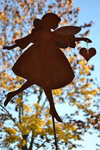 Gartenstecker Engel mit hohen filigranen Flügel - Gesamthöhe ca 120cm - Metall mit Edelrost -Gartendekoration - sehr gute stabile Qualität frostsicher