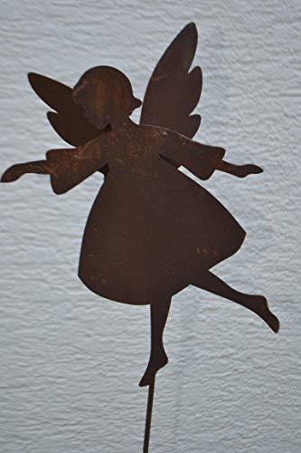 Maison en France Gartenstecker Engel- sehr Stabiler hübscher Engel mit Herzanhänger - Gesamthöhe 120 Engelhöhe 56 cm mit Doppelflügel-Gartendekoration Rost - sehr Gute Qualität