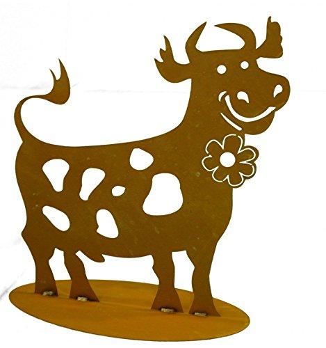 Metallmichl Edelrost lustige Rost Kuh 44 cm hoch auf Platte Tier-Figur für Gartendekoration