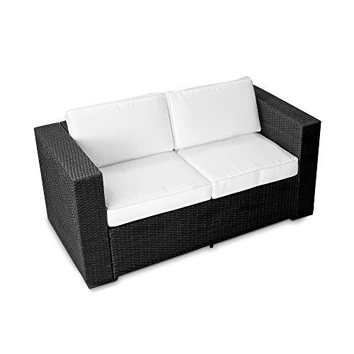 2er Polyrattan Lounge Möbel Sofa schwarz - Gartenmöbel 2er Polyrattan Lounge Sofa 2er Polyrattan Lounge Couch Polyrattan Bank - durch andere Polyrattan Lounge Gartenmöbel Elemente erweiterbar