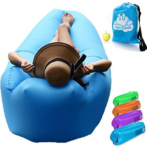 Cosy cloud™️ Aufblasbare Liegestuhl Luft Sofa Couch Tasche - Portable Outdoor Möbel wasserdicht mit integriertem Kissen - Blow-up Sonnenliegen Liegestühle für den Pool Strandurlaub - Instant Sitz Stuhl oder Bett für Camping Festivals Reisen