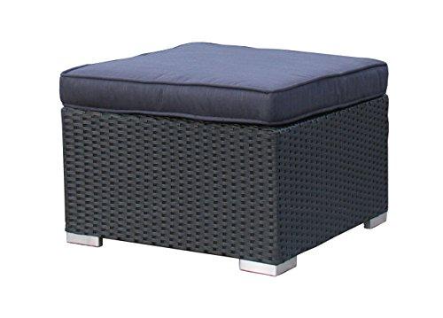 Famous Home Grasekamp Rattan Lounge Hocker 59cm Pepe Schwarz Sofa Couch Couchtisch