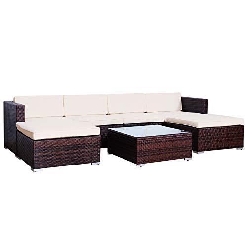 SVITA Lugano Poly Rattan Lounge Garten-Set XXL Sofa-Set Garnitur Gartenmöbel Couch-Set XXL Braun
