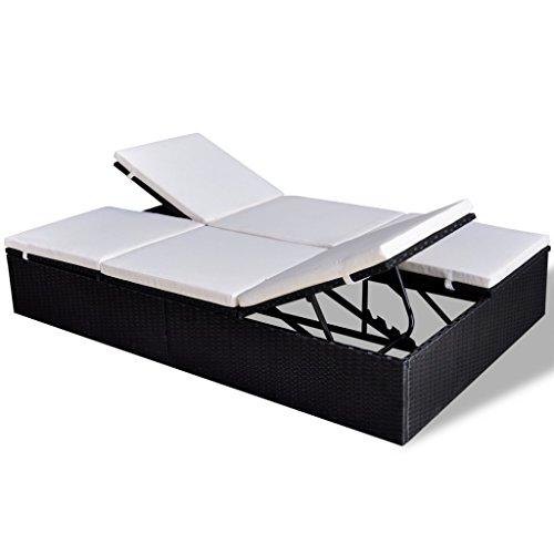 vidaXL Sonnenliege Poly Rattan Doppelliege Gartenliege Gartenmöbel Garnitur Sofa