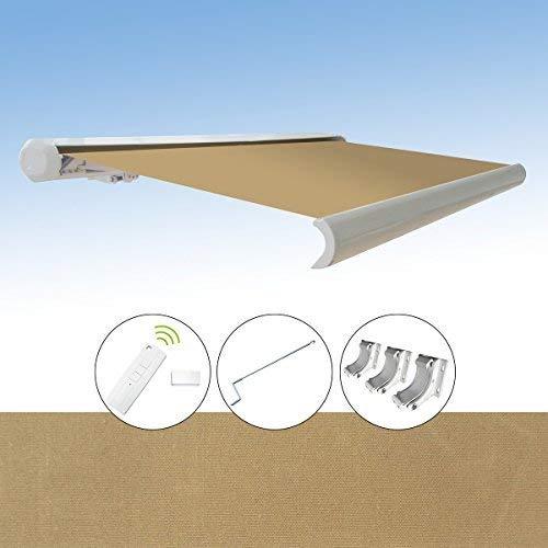 Markise elektrische Kassettenmarkise Gelenkarm Vollkassettenmarkise 4x3 m MarkisentuchfarbeA1010-1  Sand