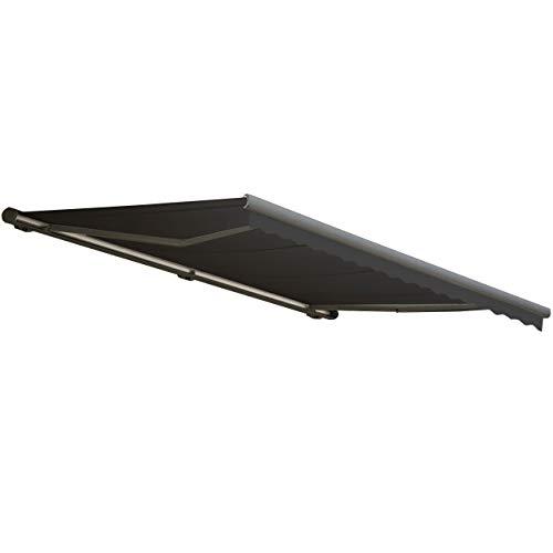 Mendler Elektrische Kassetten-Markise T123 Vollkassette Volant 45x3m ~ Polyester Anthrazit grau