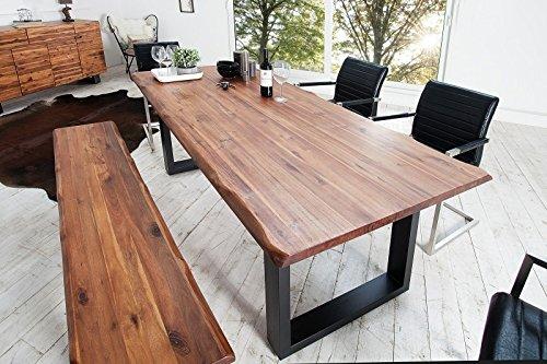 Casa Padrino Massivholz Esstisch AkazieEisengestell 200 cm - Esszimmer Tisch Massiv