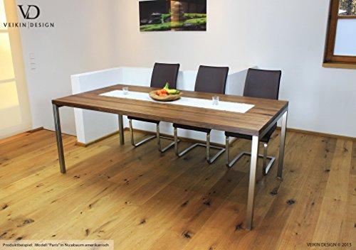 Esstisch Ahorn massiv Paris 140 x 80 cm Designer Tisch Massivholz mit Edelstahl Tischgestell Holztisch Metall Stahl Premium Esstisch Design Esstisch Exklusiv