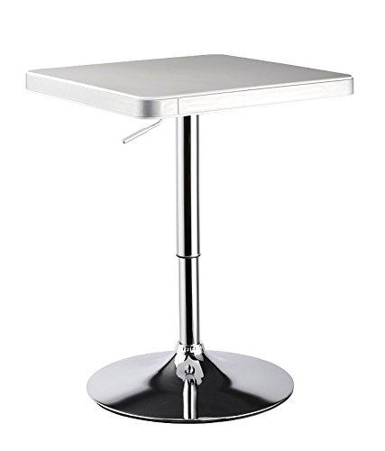 Design Bartisch Höhenverstellbar Designer BarBistro Tisch in WeißSilber