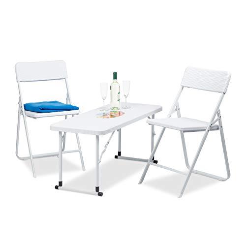 Relaxdays Gartenmöbel Set klappbar 3 teilig Polyrattan Tisch höhenverstellbar H x B x T 74 x 100 x 435 cm weiß