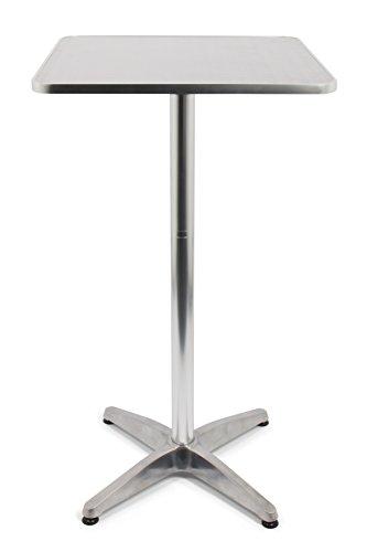 Vanage Stehtisch Bistro-Aluminiumtisch höhenverstellbar und eckig maße 60 x 60 x 70110 cm bestens geeignet als Gartentisch Balkontisch oder Terrassentisch silber