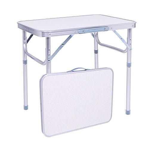 YUEBO Aluminium Klapptisch Campingtisch höhenverstellbar faltbar Gartentisch Beistelltisch Multifunktions Falttisch 60x45x55 25cm