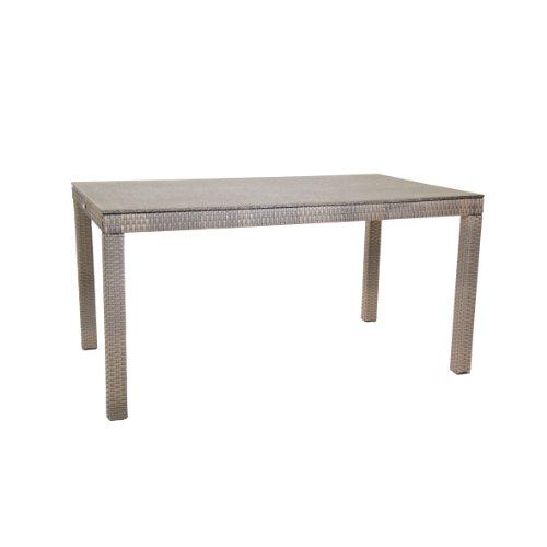 greemotion Tisch Manila Spraystone grau für den Innen- und Außenbereich Gartentisch mit Höhenverstellbaren Füßen Tischplatte in Steinoptik wetter- und witterungsfestes Polyethylengeflecht besonders pflegeleicht Maße ca 140 x 80 x 74 cm