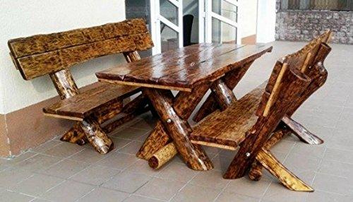 Casa Padrino Gartenmöbel Set Rustikal Tisch  2 Garten Bänke - Eiche Massivholz - Echtholz Möbel Massiv