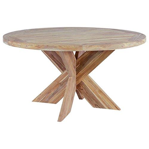 OUTLIV Holztisch rund massiv Quantum Design Gartentisch Teak-Holz Ø150cm Massivholz-Tisch rustikal Terrassentisch modern Outdoor Tisch wetterfest