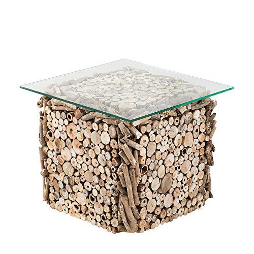 Riess Ambiente Massiver Treibholz Couchtisch FOSSIL 50cm Handarbeit Glasplatte Massivholz Beistelltisch