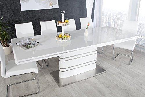 Casa Padrino Moderner Yacht Design Esstisch Weiß Hochglanz Ausziehbar 160-220 cm Esszimmer Tisch