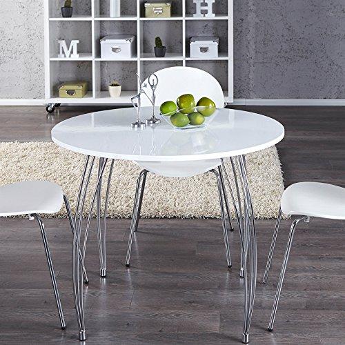 DESIGN DELIGHTS Stilvoller ESSTISCH Optimus  90 cm weiß Rund  Küchentisch