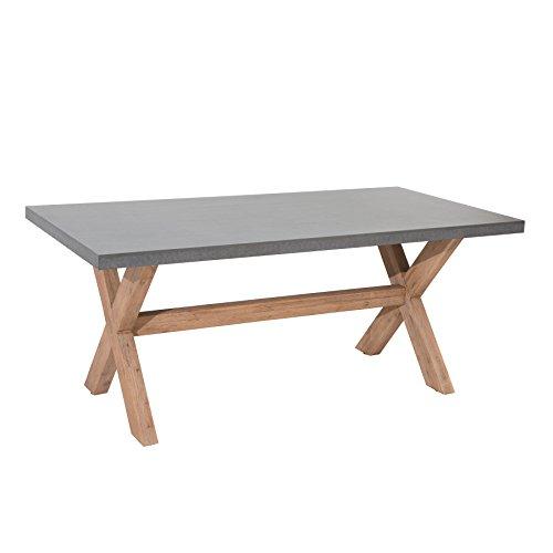 Design Esstisch CEMENT Akazie Massivholz 180cm Tisch Esszimmertisch In- und Outdoor Beton-Optik