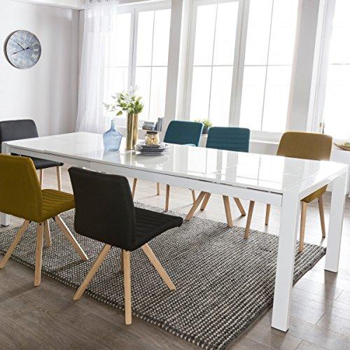 Esszimmertisch Glory 140 x 76 x 90 cm ausziehbar Hochglanz weiß Metall Holz  Küchentisch für 6-8 Personen  Design Esstisch rechteckig um 2 x 45 cm erweiterbar