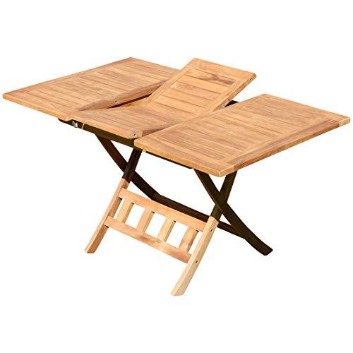 ASS Teak Ausziehtisch 100-140 x 80cm klappbar Holztisch Klapptisch Gartentisch Tisch JAV-AVES-AUSZIEH-100140 Holz von