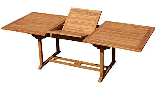 ASS Teak XXL Ausziehtisch 150200-210 x 90 cm Holztisch Gartentisch Garten Tisch Holz Saba von Größe150-210 x 90cm