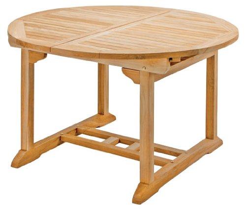 Runder Ausziehtisch Rondo aus Teakholz 120-170cm ✓ Wetterfest ✓ Nachhaltig ✓ Robust  Holztisch als großer Küchen-Tisch Balkon-Tisch Garten-Tisch  Ausziehbarer Teak-Tisch Esstisch für draußen  Verlängerbares Garten-Möbel aus Massiv-Holz