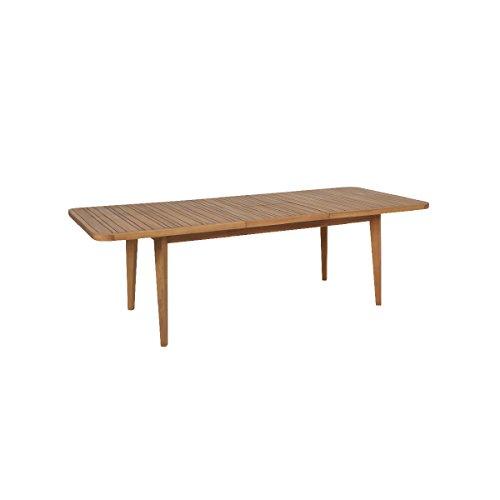 greemotion 128670 Ausziehtisch FÖHR aus Massivholz-Gartentisch rechteckig zum Ausziehen-Esstisch braun für Garten Terrasse Balkon-Holz Tisch Akazie massiv 186 x 103 x 17 cm