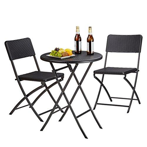 Relaxdays Gartenmöbel Set Bastian klappbar 3-teilig Rattan-Optik klein HBT Tisch 755 x 60 x 60 cm schwarz