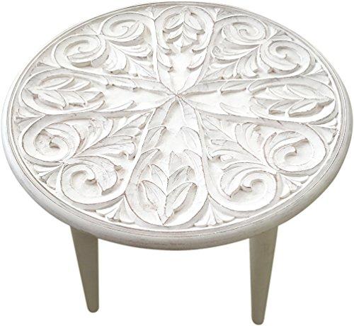 habeig Gartentisch weiß Beistelltisch Garten Holz Tisch Landhaus Couchtisch Terrasse