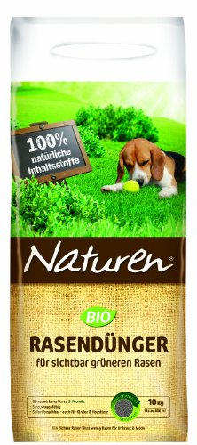Naturen 8864 Bio Rasendünger - Organischer Volldünger mit bis zu 3 Monaten natürlicher Langzeitwirkung für Sport- Spiel - und Zierrasen - 10 kg für 250 m²