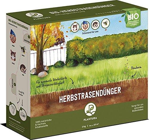 Plantura Bio Herbstrasendünger Langzeitwirkung  für maximale Winterhärte  100 tierfrei Bio-Zertifiziert  gut für den Boden  unbedenklich für Haus- Gartentiere  Rasendünger  Dünger