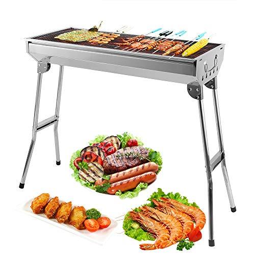 Uten BBQ Grill Picknickgrill Tragbarer Klappgrill Rost Holzkohlegrill Edelstahl Barbecue Holzkohle Grill Für BBQ Party Garten Camping 74X33CM Grillfläche-groß