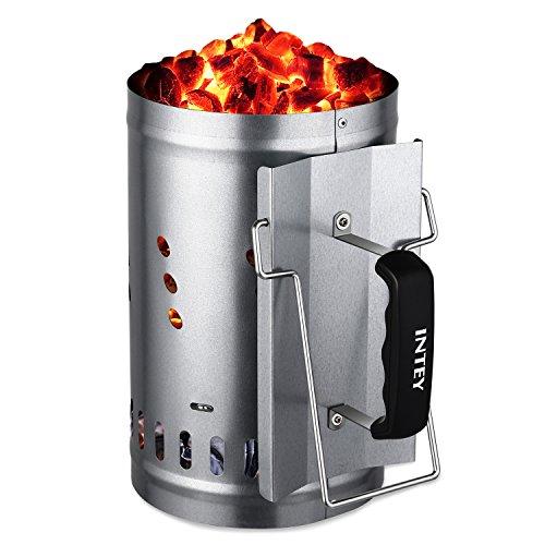 INTEY Anzündkamin BBQ Grillkohleanzünder mit Sicherheitsgriff 30 x 19 cm grillkamin