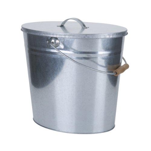 Kamino-Flam Zink-Ascheeimer mit Deckel - Kohleneimer klein 15l - Kohleeimer verzinkt - Zinkeimer  Asche-Mülleimer als Kamin-Zubehör für den Grill für Kohlen
