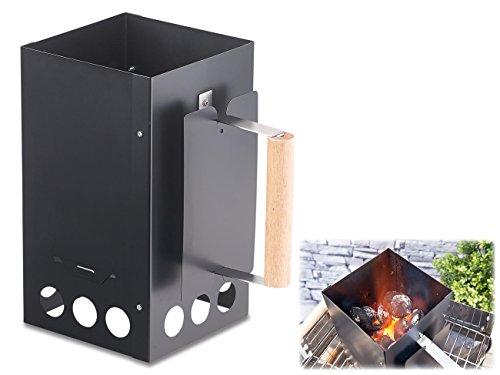 infactory Kohleanzünder Grill-Anzündkamin für Kohle und Briketts schwarz Kohlenanzünder