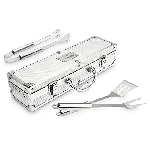 Grillkoffer mit Gravur  Grillbesteck-SetGrill-Zubehör aus Edelstahl  Das Ideale Geschenk für Männer zB als Weber Grill-Zubehör Klein
