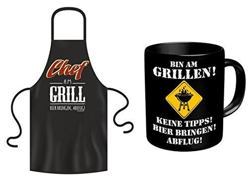 Fun Grillschürze Chef am Grill  Tasse Bin am Grillen als Geschenk Set