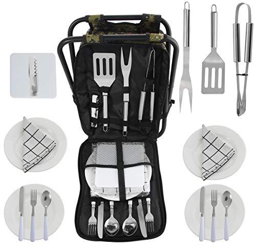 POLIGO BBQ Grill-Tools Set in Mehrzweck-Storage-Rucksack Klappstuhl mit isolierten Kühltasche komplette Zubehör-Set für Outdoor-Barbecue Camping Picknick Angeln Wandern Grillen