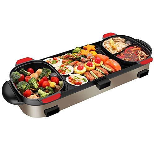 YJIUJIU BBQ Grill und Hot Pot Multi-Funktions-Grill Hot Pot Double Pot Elektro-Grill Haus elektrische Backblech koreanischen Stil DREI Steuerelemente