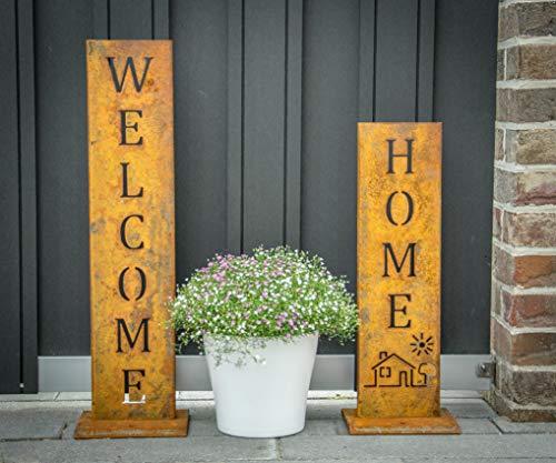 Welcome  Home - Edelrost Ständer von SteelTastic ★ 2 er Set ★ Perfekte Rost Deko für den Garten Hauseingang oder Terrasse ★ Premium Qualität Made in Germany