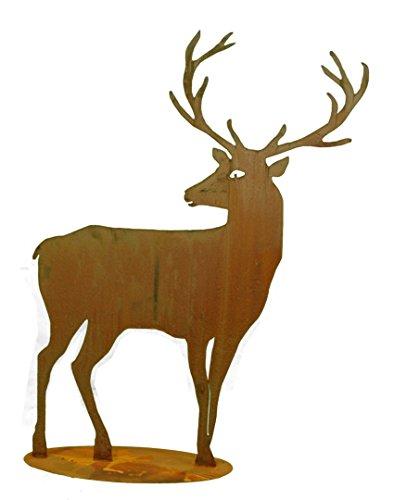 Metallmichl Edelrost Hirsch groß Höhe 100 cm nach hinten schauend - breites Geweih Rost-Deko Garten-Dekoration aus rost Metall