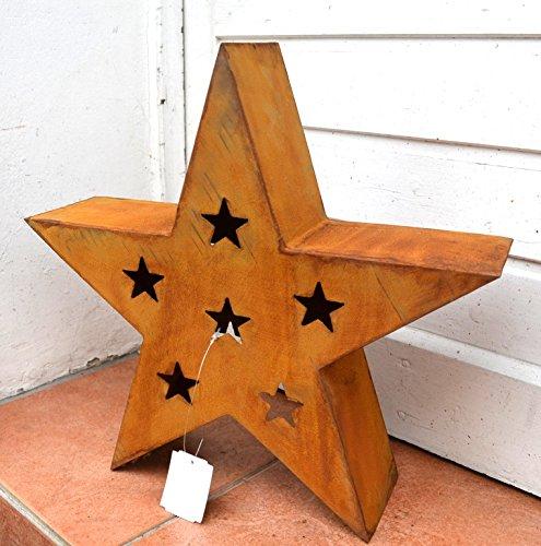 Stern Rost aus Metall Edelrost Weihnachtsdeko Weihnachten Winterdeko Garten-Deko xmas Deko Skulptur Höhe ca 37cm