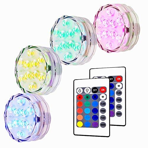 Unterwasser LED Leuchte Lunsy 4pcs Multicolor RGB 10 LED Schwimmlichter Wasserdicht Lampe Deko Lichter Schwimmleuchtung Beleuchtung für Water Garden Aquarium Badewanne Pool und Spa usw