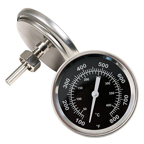 Grillthermometer bis 400 °C  800 °F Thermometer für alle Grills Smoker Räucherofen und Grillwagen analog Grillzubehör Anzeige Celsius und Fahrenheit