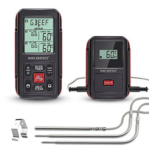 Inkbird IRF-2S Remote Wireless Smoker Fleischthermometer Funk Thermometer mit Temperaturfühlern für Kochen von BBQOfenRaucherGrills bis zu 300M IRF-2S3 Temperaturfühler Rot