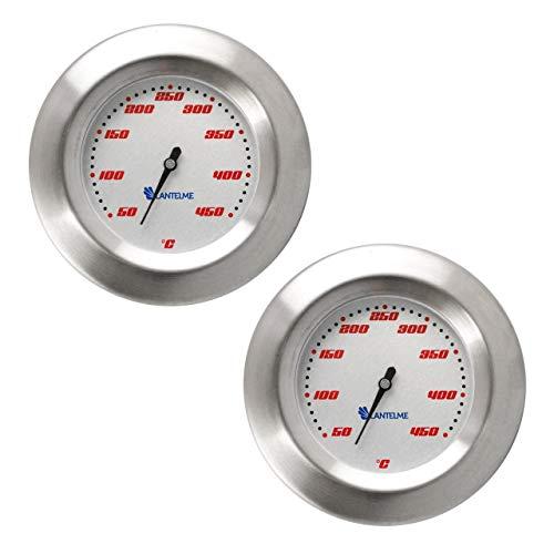 Lantelme 2 Stück Thermometer für GrillSmoker  RäucherofenGrillwagen AnalogBimetall  Edelstahl BBQ Grillzubehör Modell Racing