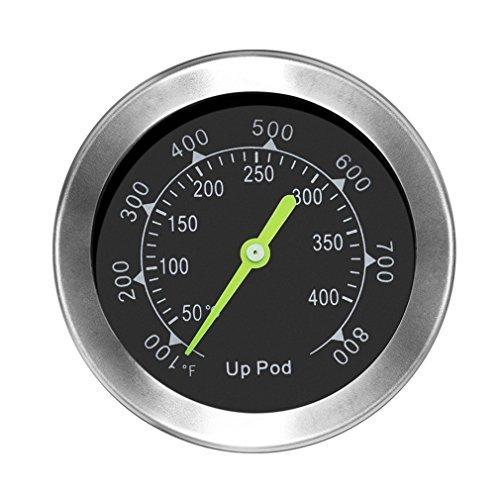 UPPOD Thermometer grillzubehör thermostat grill thermometer für smoker 89mm mit Rosette Grillen Backen Ofen und Räucherofen S304 Edelstahl Bis zu 400 °C